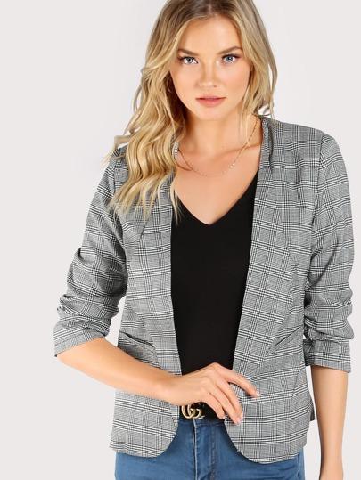 Plaid Print Shirred Sleeve Blazer GREY