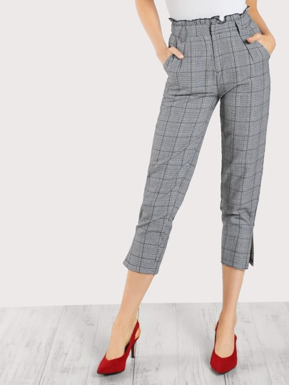 Ruffle Waist Plaid Pleated Capri Pants GREY