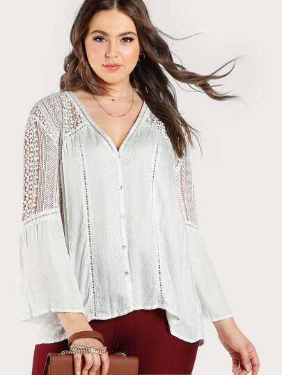 Lace Detail Button Up Top WHITE