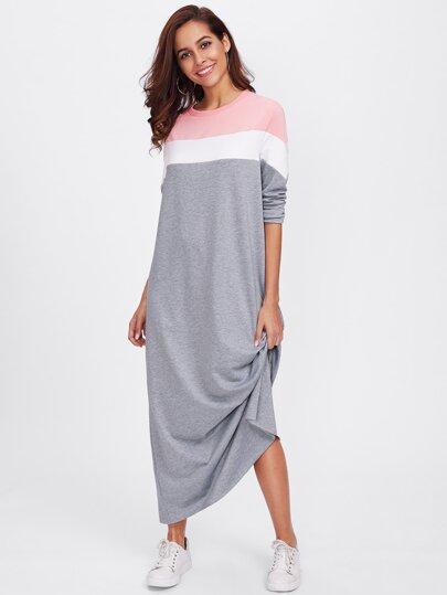 Vestido estilo sudadera con costura