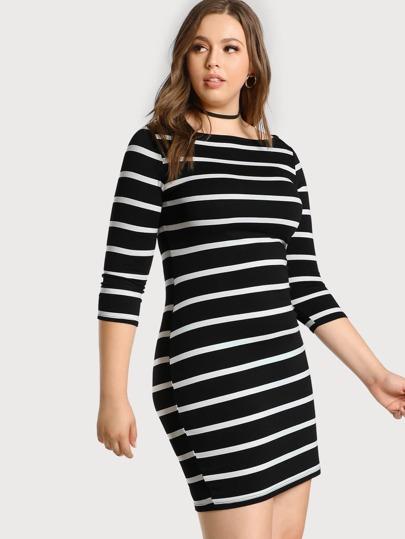 3/4 Sleeve Striped Tee Dress