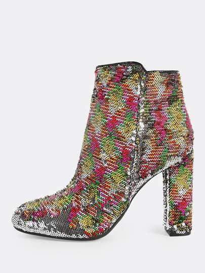 Sequince Round Toe Heel Boots MULTI
