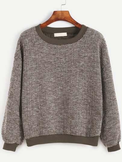Sweat-shirt contrasté tricoté à nervures