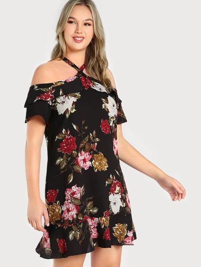 Cold Shoulder Floral Print Dress BLACK