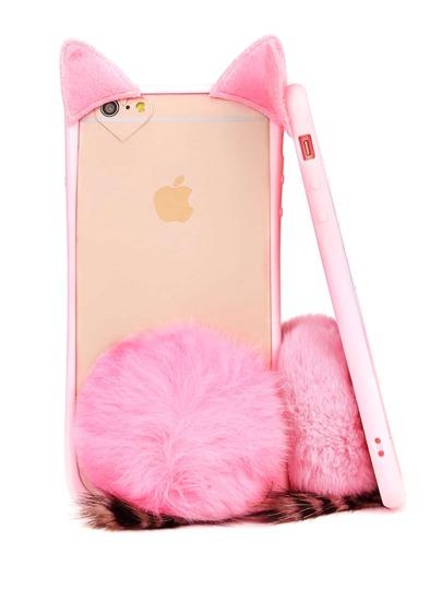 Cat Design iPhone Case With Pom Pom