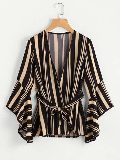 Bell Sleeve Tie Waist Pinstripe Kimono