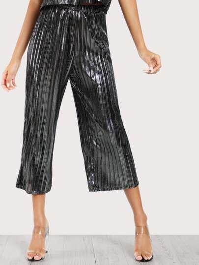Metallic Pleated Pants SILVER