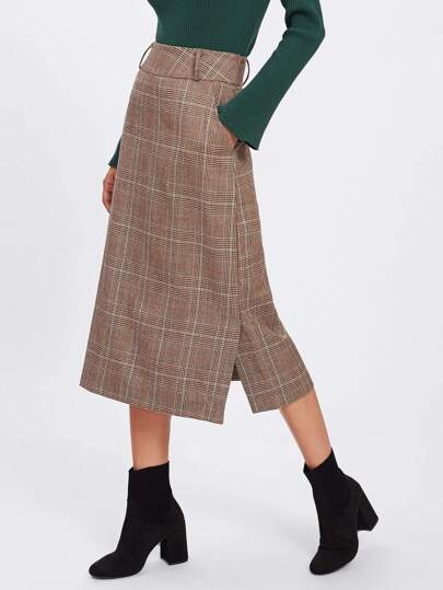 Wool Blend Plaid Skirt
