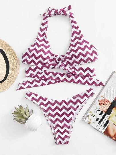 Conjunto de bikini cruzado zigzag
