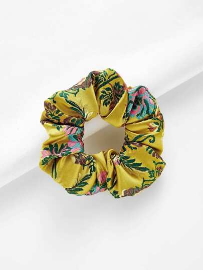 Embroidered Flowers Hair Tie