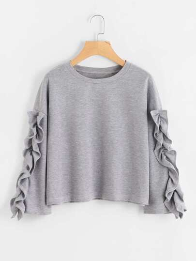 Ruffle Sleeve Drop Shoulder Sweatshirt