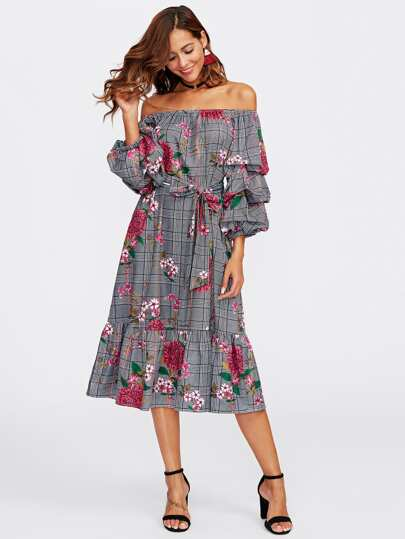 Gathered Sleeve Flounce Hem Bardot Dress
