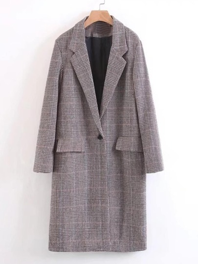 Single Button Longline Plaid Blazer