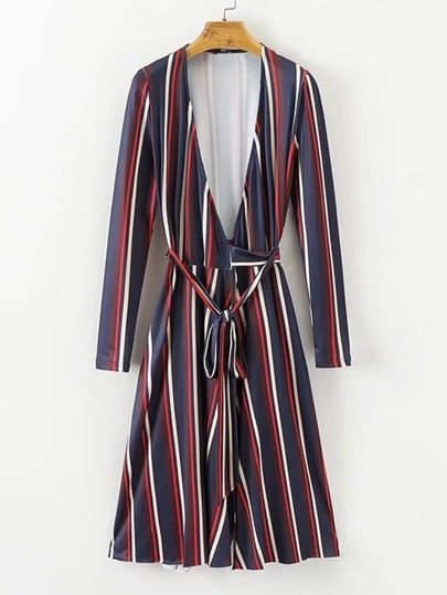 Vertical Striped Wrap Dress With Belt