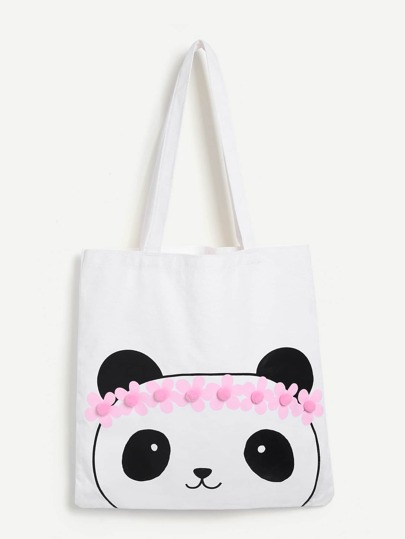 Panda Pattern Canvas Tote Bag