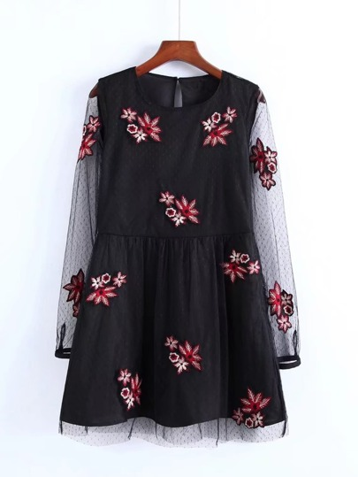 Embroidery Flower Mesh Dress