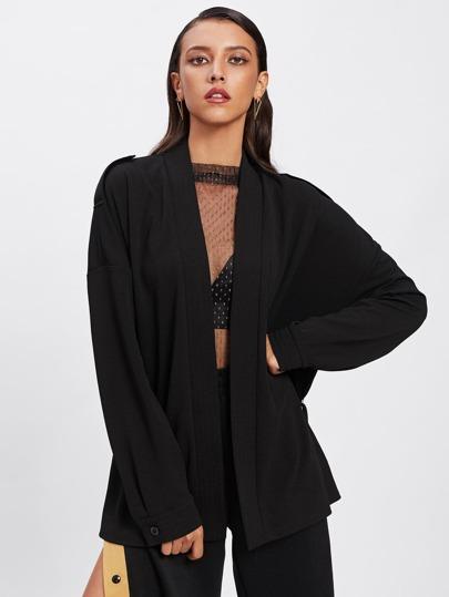 Stitched Neckline Drop Shoulder Wrap Coat
