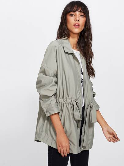 Drawstring Waist Zip Up Utility Jacket