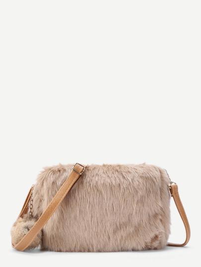 Faux Fur Overlay Shoulder Bag With Pom Pom