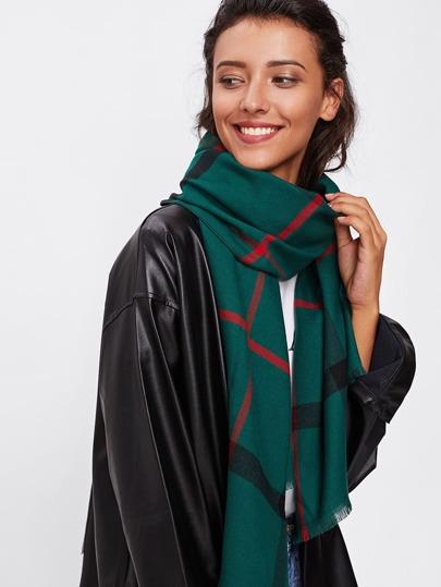 Bufanda de cuadrícula con flecos