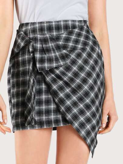Plaid Tied Asymmetric Hem Skirt BLACK PLAID