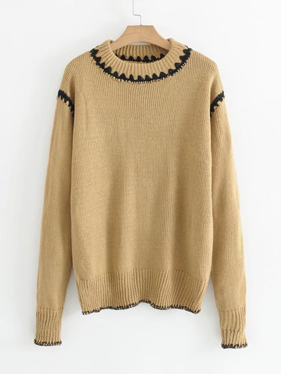 Contrast Trim Ribbed Sweater
