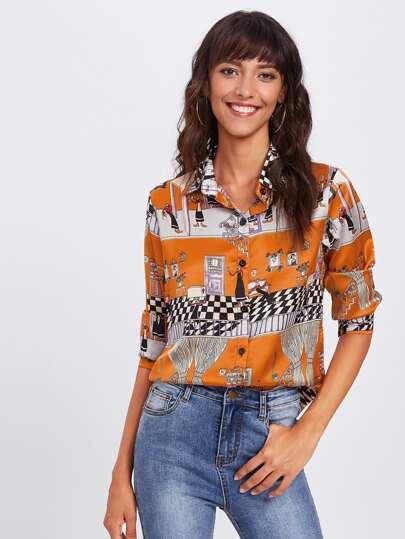 Модная рубашка с принтом