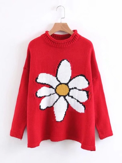 Drop Shoulder Floral Sweater