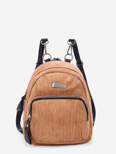 Zipper Front Corduroy Backpack