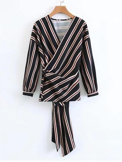 Tie Back Striped Wrap Blouse