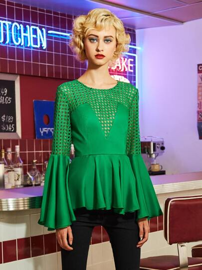 Fluted Sleeve Lace Panel Frill Hem Blouse
