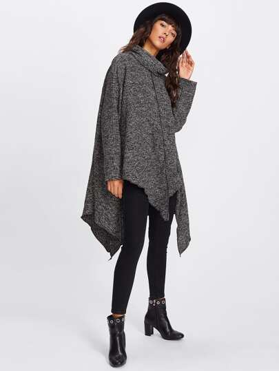 High Neck Asymmetric Hem Ribbed Sweater