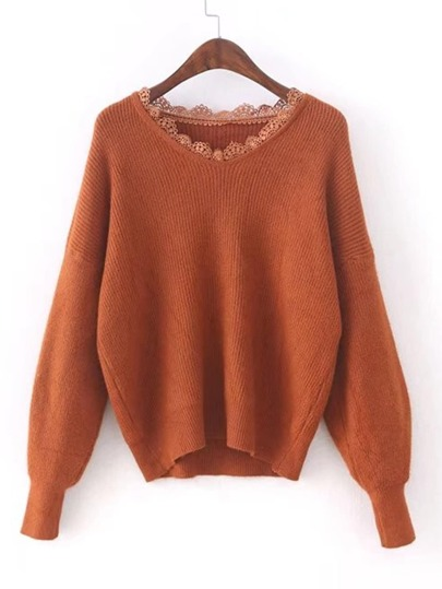 Lace Insert V Cut Drop Shoulder Sweater