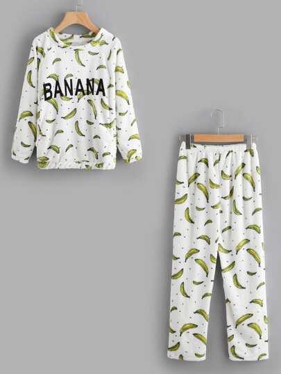 Banana Flannel Pullover And Pants Pajama Set