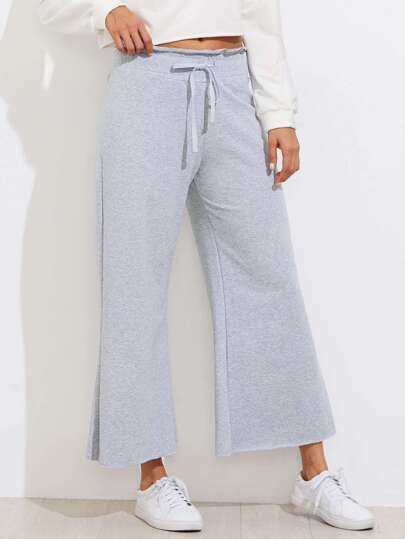Drawstring Waist Wide Leg Sweatpants