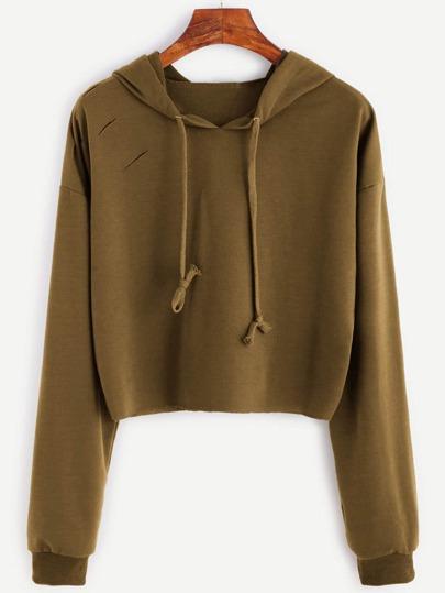 Drop Shoulder Ripped Drawstring Hooded Sweatshirt