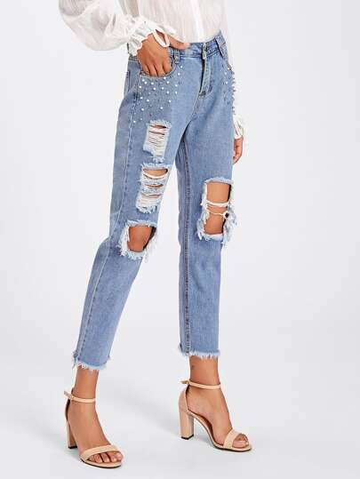 Studded Raw Hem Extreme Distressing Jeans