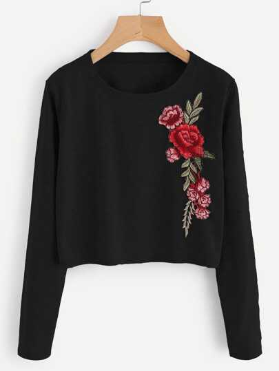 Embroidered Applique Marled Tee