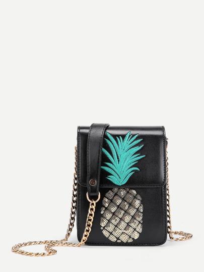 Sac de poche design d\'ananas avec paillettes