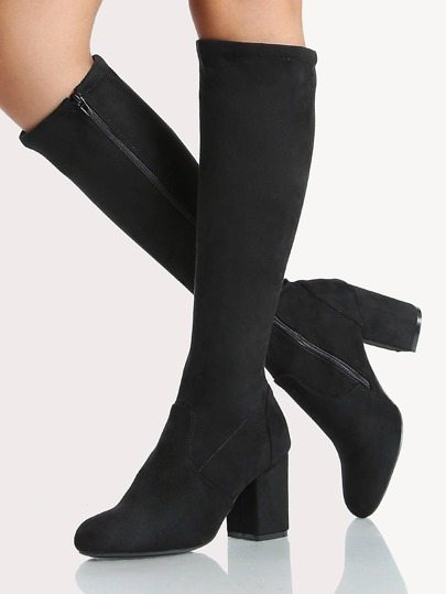 Round Toe Faux Suede Calf Boot BLACK
