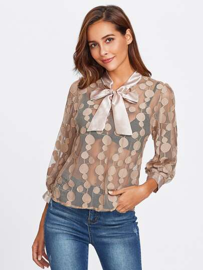Bow Tie Neckline See Through Lace Blouse