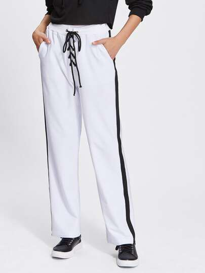 Contrast Panel Side Lace Up Pants