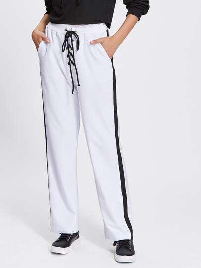 Contrast Panel Side Lace Up Pants