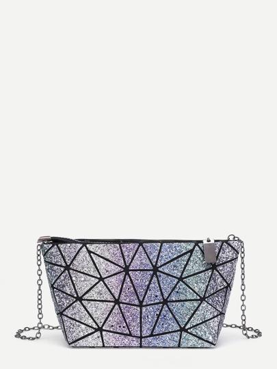 Geometric Pattern PU Chain Bag