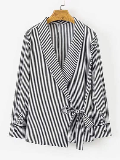 Self Tie Shawl Collar Striped Blouse