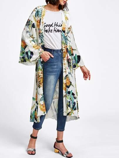 Cappotto in velluto con stampa botanica