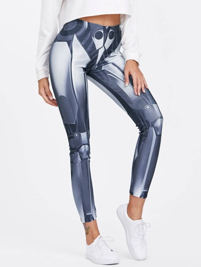 Abstract Mechanical Print Leggings