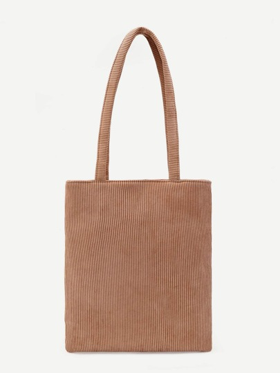 Pocket Back Corduroy Tote Bag
