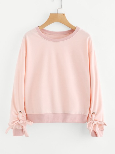 Drop Shoulder Tie Detail Sweatshirt