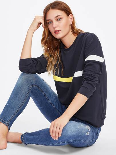 Striped Panel Drop Shoulder Sweatshirt